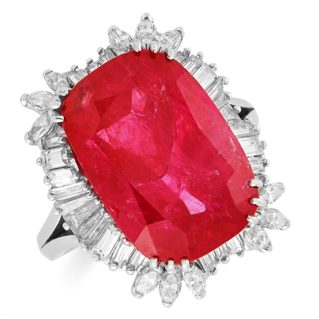 14.67 carat Cushion Cut Burmese Ruby Ring. Elmwood's Auction House, 2019.