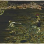 Billy Childish swimmer, 2018 Oil and charcoal on linen 183 x 244 cm