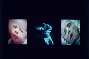 Bill Viola, Nantes Triptych, 1992. Three-channel colour video triptych, free text 3.2 x 2.3m, 3.2 x 4m, 3.2 x 2.3m, duration 00:29:46. Courtesy Bill Viola Studio.