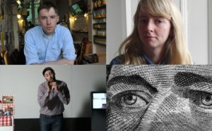 (clockwise from top left): Duncan Campbell, Ciara Phillips, James Richards's Rosebud 2013 and Tris Vonna-Michell's OU: Finding Chopin 2012