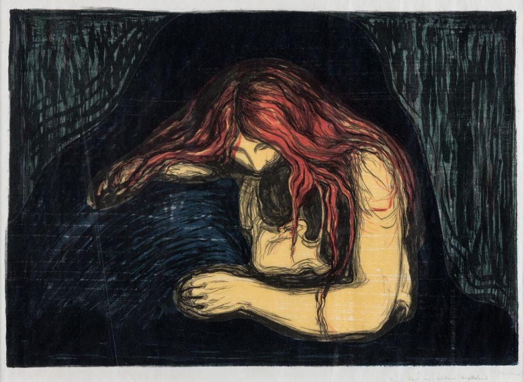 Edvard Munch(1863-1944). Vampire II, 1896. The Savings Bank Foundation DNB, on loan to Henie Onstad Kunstsenter, Oslo.