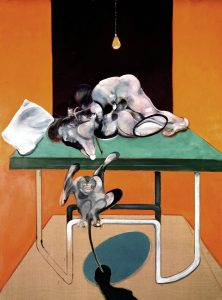 Francis Bacon, Two Figures with a Monkey, 1973, oil on canvas, 77 7/8 × 58 inches (198 × 147.5 cm) © The Estate of Francis Bacon. All rights reserved, DACS/Artimage 2019. Photo: Prudence Cuming Associates Ltd