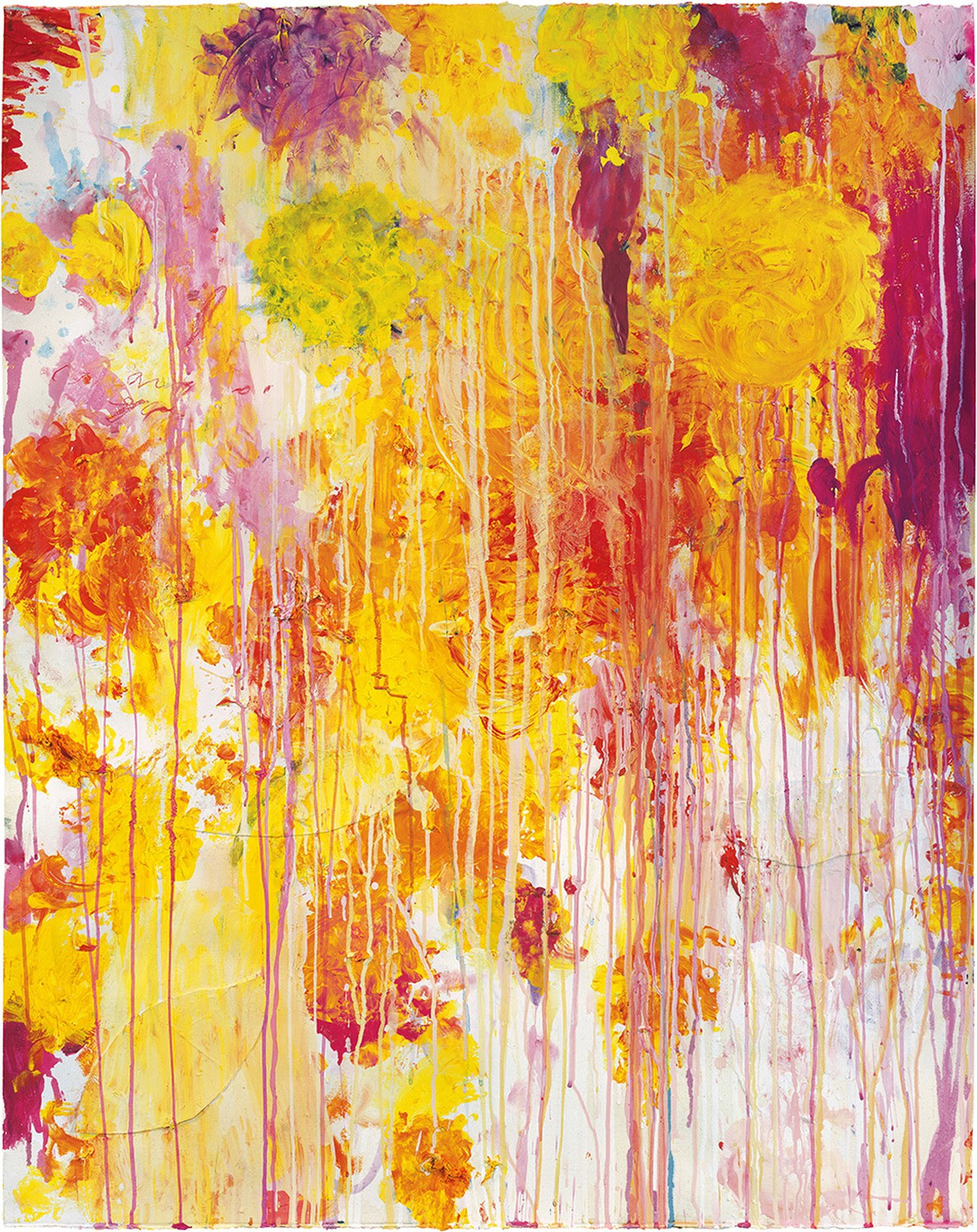 Cy Twombly, Untitled, 2001, acrylic, wax crayon, and cut-and-pasted paper on paper, 48 7/8 × 39 inches (124 × 99 cm) © Cy Twombly Foundation. Photo by Rob McKeever