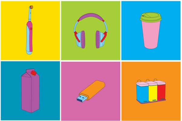 rom left to right: six new works from Objects of Our Time; Electric Toothbrush; Noise Cancelling Heaphone; Takeaway Coffee;  Juice Carton;  Memory Stick;  Recycling Bins, 2014, A set of 12 screenprints,  Courtesy the artist and Alan Cristea Gallery