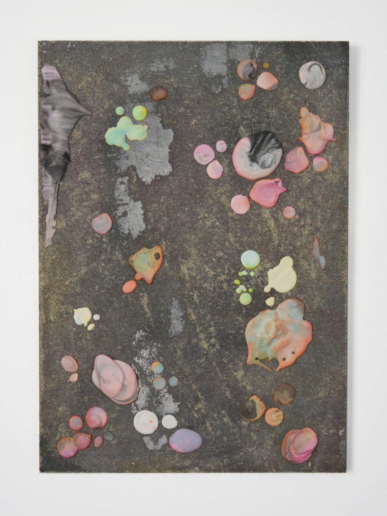 Sliders (21), 2015 Dried drips of colored plaster, glue, wood 42 x 30 cm