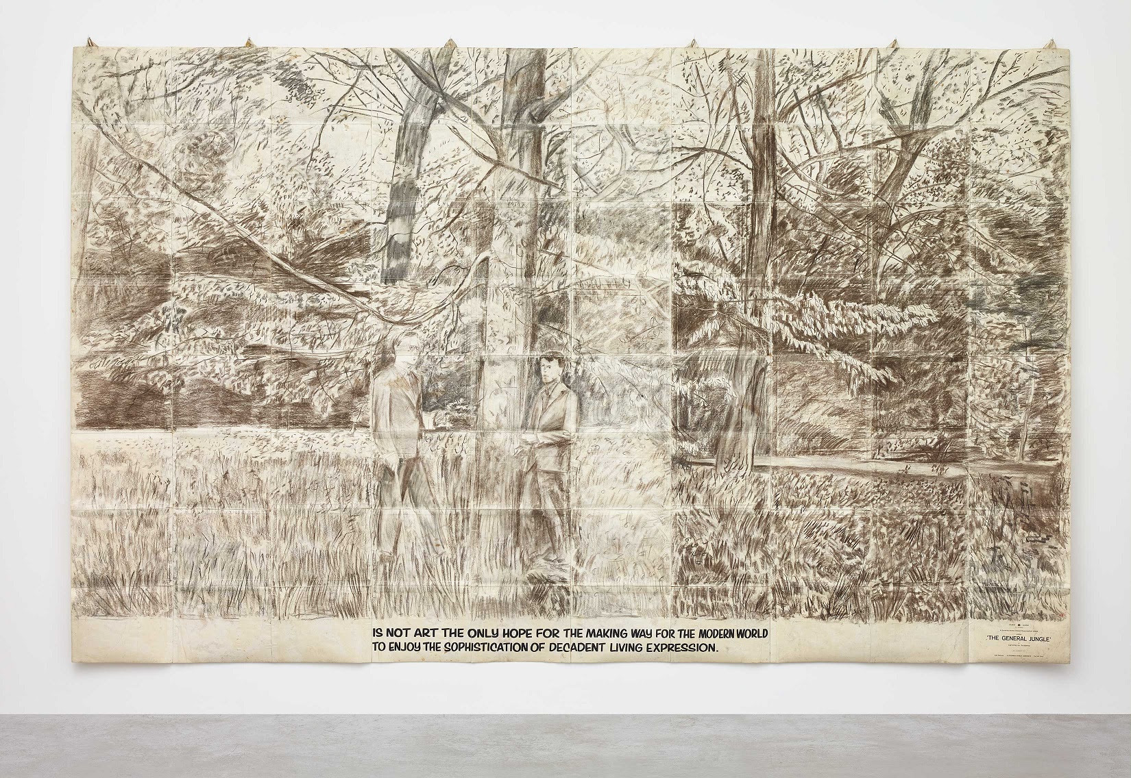 IS NOT ART THE ONLY HOPE FOR THE MAKING WAY FOR THE MODERN WORLD TO ENJOY THE SOPHISTICATION OF DECADENT LIVING EXPRESSION , 1971, charcoal on paper sculpture, 110 1/4 x 177 1/8 inches (280 x 450 cm). Private collection. Photo by Stephen White. © 2017 Gilbert & George ?