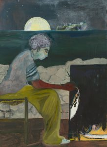 Peter Doig, Painting on an Island (Carrera), 2019. Oil on linen, 59 x 43 inches (149.5 x 109.5 cm).