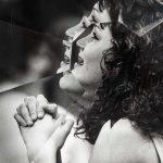 Jeremy Shaw, Towards Universal Pattern Recognition (Cheerleader Prayer. Picayune, MI. 12 11 87), detail, 2020, archival black/white photograph, acrylic, chrome, 43 x 38 x 16 cm