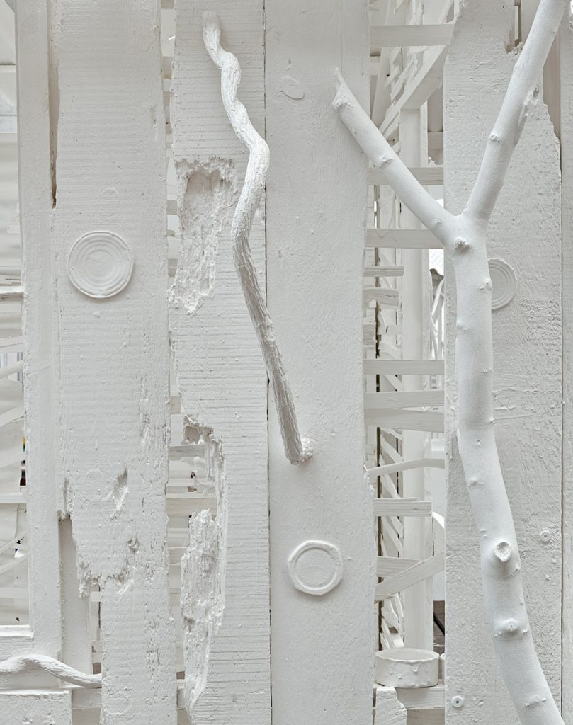 Rachel Whiteread, Poltergeist , 2020 (detail), corrugated iron, beech, pine, oak, household paint, and mixed media, 120 1/8 × 110 1/4 × 149 5/8 inches (305 × 280 × 380 cm) © Rachel Whiteread. Photo: Prudence Cuming Associates