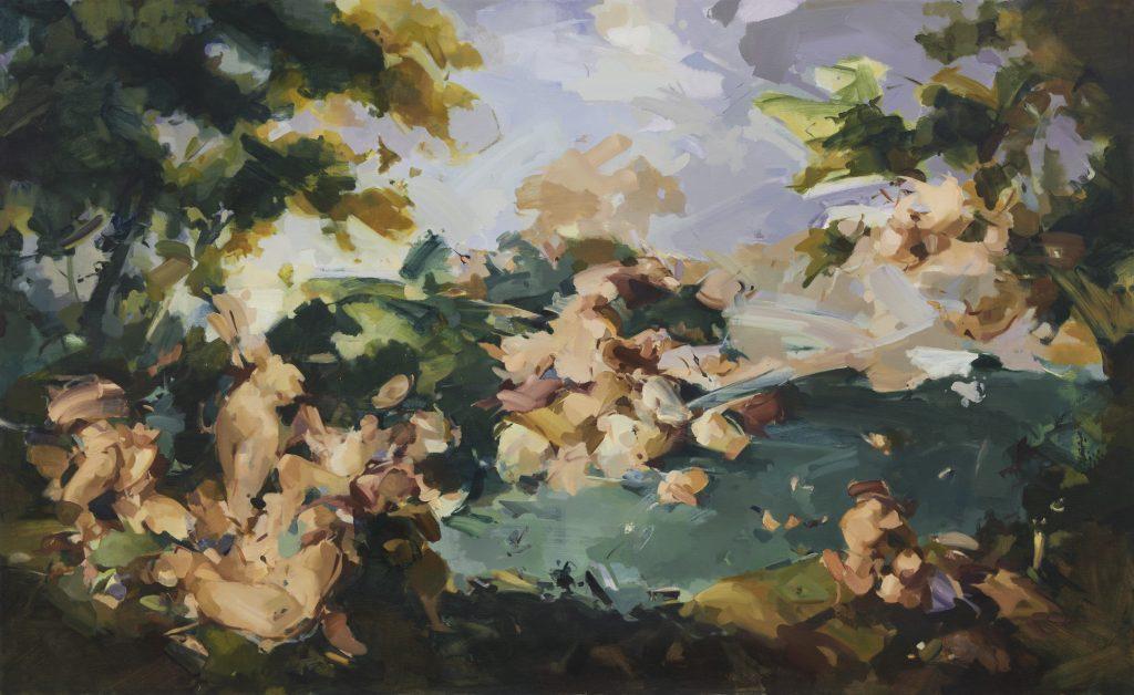 Flora Yukhnovich Capriccio, 2019 Oil on linen 150 x 245 cm 59 1/8 x 96 1/2 in © Flora Yukhnovich Courtesy the artist, Parafin and Victoria Miro FAD MAGAZINE