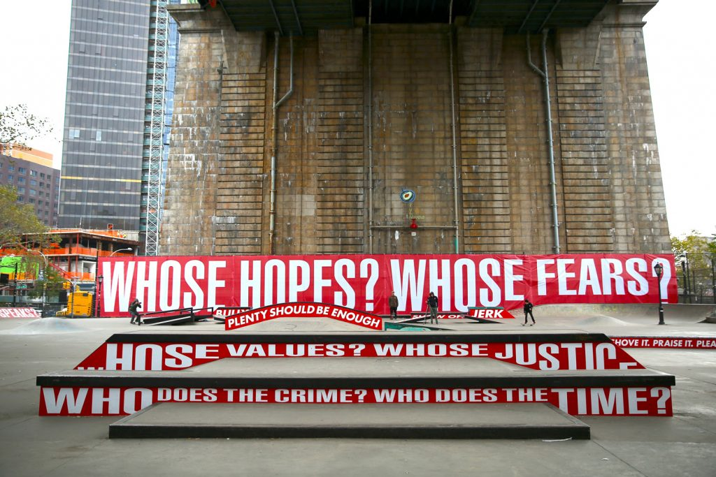 Barbara Kruger, Untitled (Skate), at Coleman Skatepark, NYC. A Performa Commission for Performa 17. Photo © Paula Court. Courtesy of Performa.