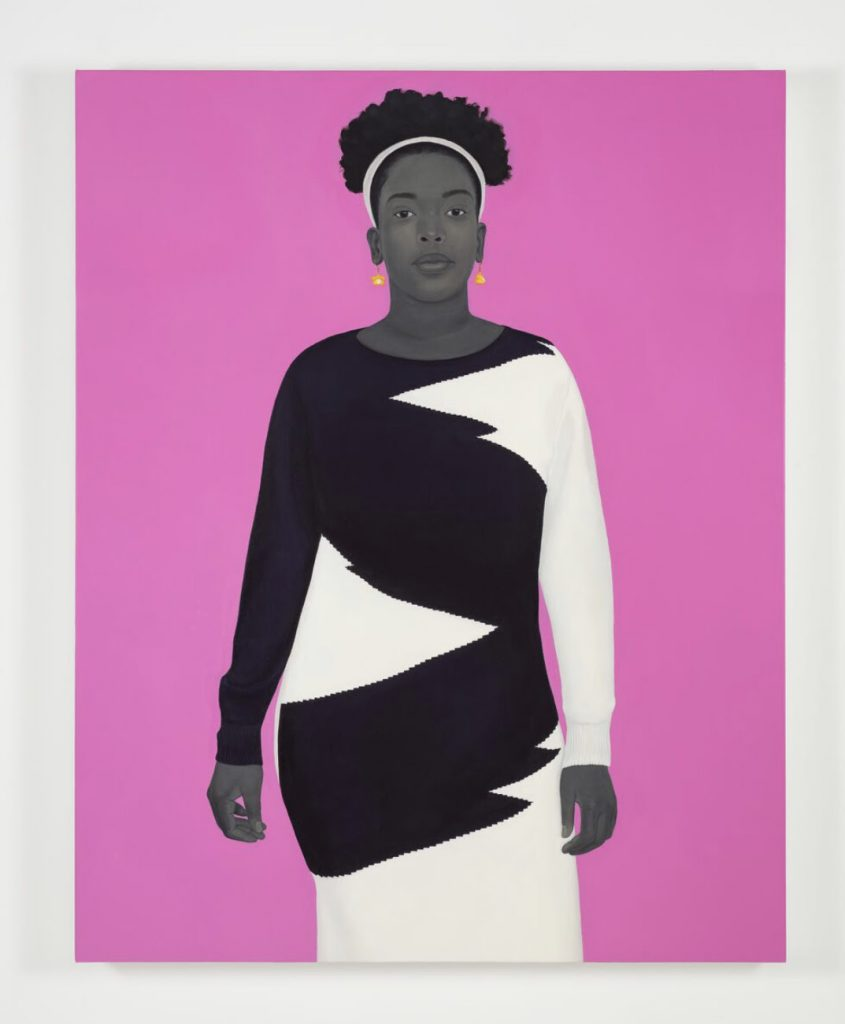 Amy Sherald Sometimes the king is a woman, 2019 Oil on canvas 137.2 x 109.2 x 6.4 cm / 54 x 43 x 2 1/2 inches Photo: Timothy Doyon © Amy Sherald  FAD Magazine