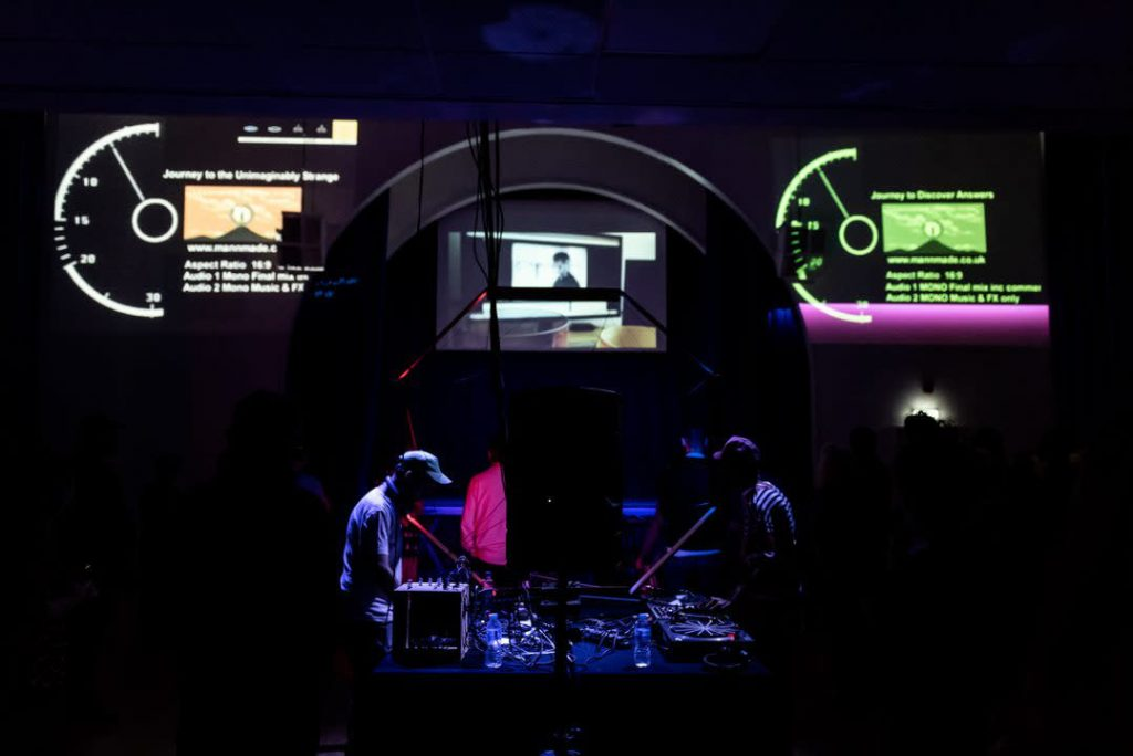 Haroon Mirza and Jack Jelfs performing, Last Dance: The Wave Epoch, by Haroon Mirza, Jack Jelfs with Elijah and GAIKA. Commissioned by Lighthouse for Brighton Festival 2018. Photo: Xav Clarke.