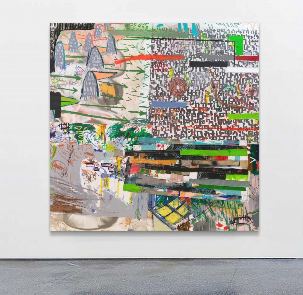 Wendimagegn Belete - Moment (17), 2020 | Acrylic, pastel, oil stick, textile, embroidery, spray and collage on canvas | 180 x 180 cm, 70 7/8 x 70 7/8 in FAD MAGAZINE