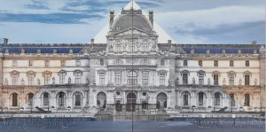 JR at the Louvre, La Pyramide, 2016, 2 color photographs. 100 × 100 cm | 39 3/8 × 39 3/8 in. Photo: Claire Dorn. Courtesy the Artist and Perrotin. ©Claire Dorn, © JR-art.net