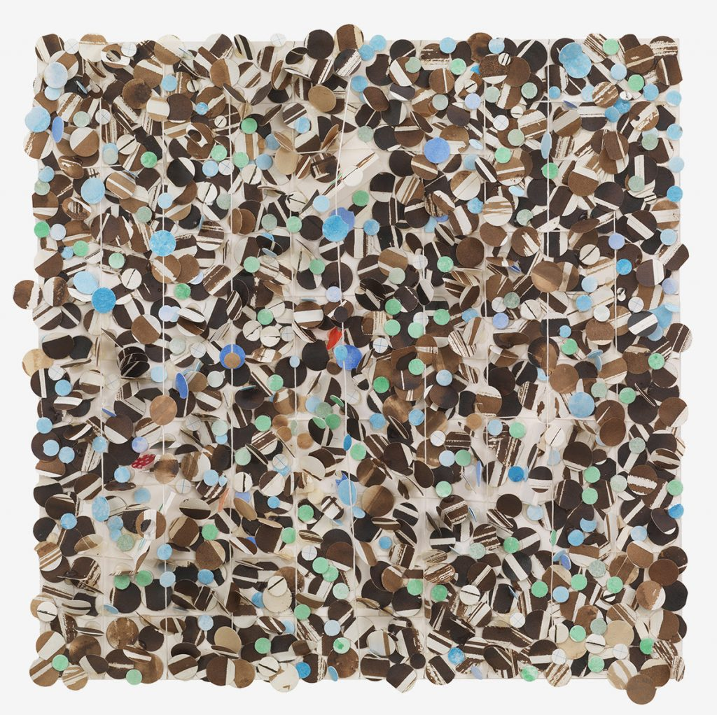Image: Howardena Pindell, Untitled #51, 2010, Mixed media on board, 10.5 x 10.5 inches (26.7 x 26.7 cm) Courtesy of the artist and Garth Greenan, New Yor