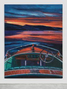 Luis Gispert, Untitled (Barrel Back), 2020, Oil on linen, 62 x 50 x 2.5 inches (157.5 x 127 x 6.5 cm). Moran Moran at Art Basel OVR 2020