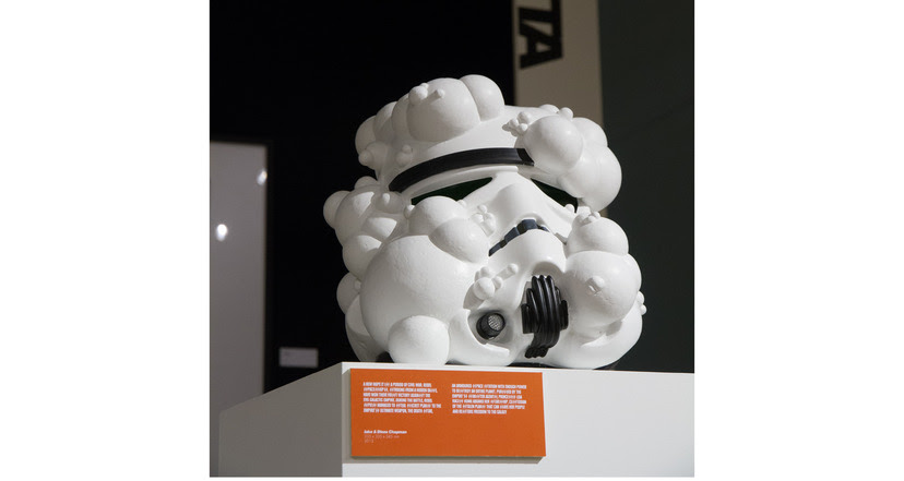 THE CHAPMAN BROTHERS 2013 335 x 335 x 345 mm Acrylic Capped ABS Storm Trooper helmet, Mixed Media Signed by Jake and Dinos Chapman Asking price: £18,000