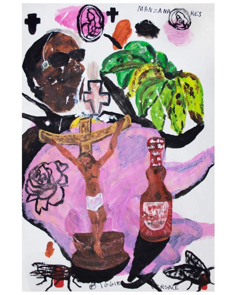 Versace Biggie and The Christ, 2021 Acrylic and marker on paper, 44 x 66 cm MAÏA RÉGIS