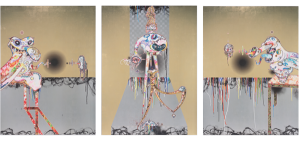 Artwork: Homage to Francis Bacon (Second Version of Triptych (on light ground)), 2016 Acrylic, gold and platinum leaf on canvas mounted on aluminum frame Triptych (3 panels) 197.8 × 147.5 × 5.1 cm / 777/8 × 581/16 × 21/16 in (each) ©2016. Takashi Murakami/Kaikai Kiki Co., Ltd. All Rights Reserved. Courtesy Perrotin