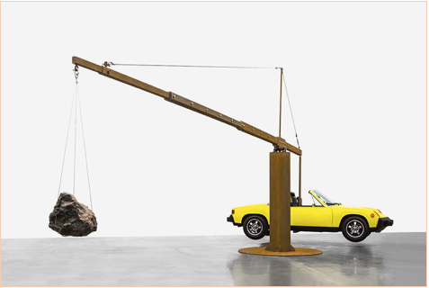 Chris Burden, Porsche with Meteorite, 2013, restored 1974 Porsche 914, 390-pound meteorite, and steel structure © Chris Burden/Licensed by the Chris Burden Estate and Artists Rights Society (ARS), New York