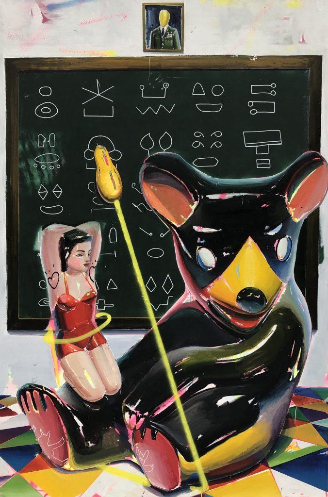 Ana Barriga Dame de tu Maní, 2019, Oil, enamel, marker and spray on canvas (195 x 130 cm/ 76 3/4 x 51 1/8 in)