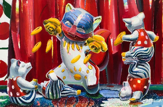 Ana Barriga Tiempos Salvajes (Wild Times), 2019, Oil, enamel and spray on canvas (225 x 150 cm/ 88 5/8 x 59 1/8 in)
