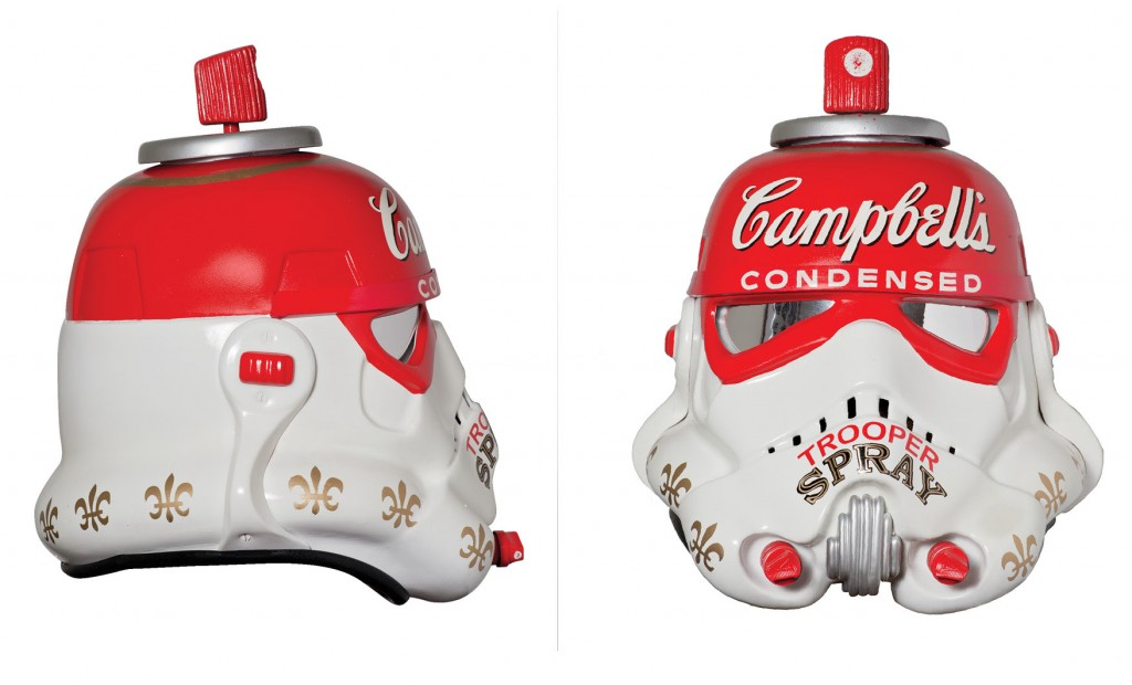 MR.BRAINWASH   'Campbell's Condensed Trooper Spray', 2013 Acrylic Capped ABS Storm Trooper helmet, Mixed Media, fixings 310 x 310 x 325 mm Signed by Mr.Brainwash   Asking price: £15,000