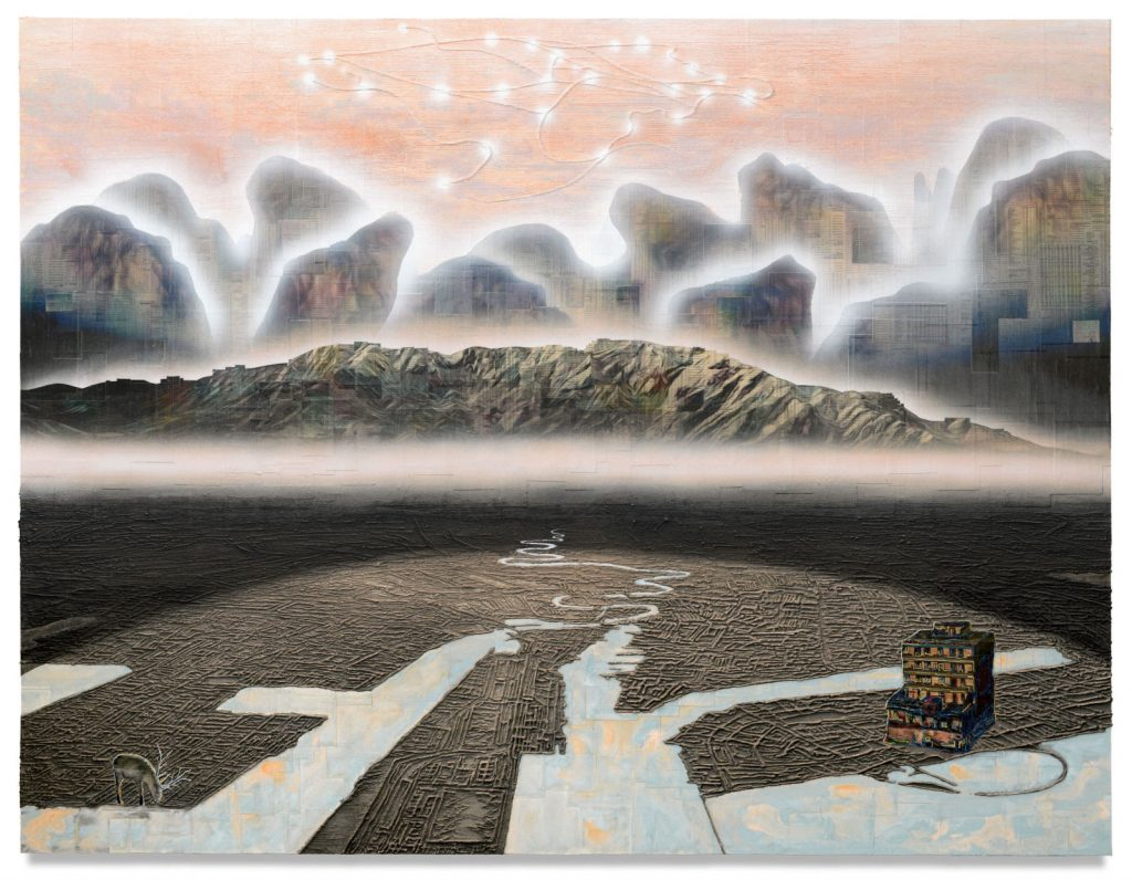 Gordon Cheung Megalopolis, 2020, newspaper, archival inkjet, sand and acrylic on canvas, 150 x 200 cm / 59 1/8 x 78 3/4 in