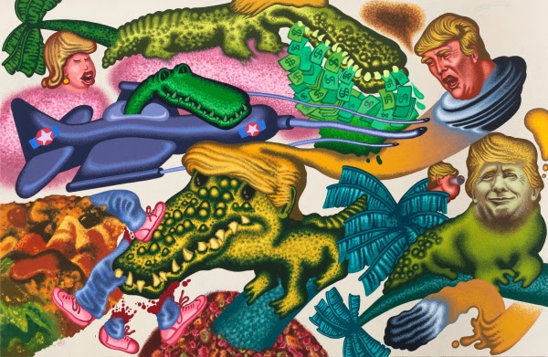 Peter Saul, Donald Trump in Florida, 2017, Acrylic on canvas, 198,1 x 304,8 cm, 78 x 120 inches / Courtesy of the Artist and Hall Art Foundation. FAD MAGAZINE
