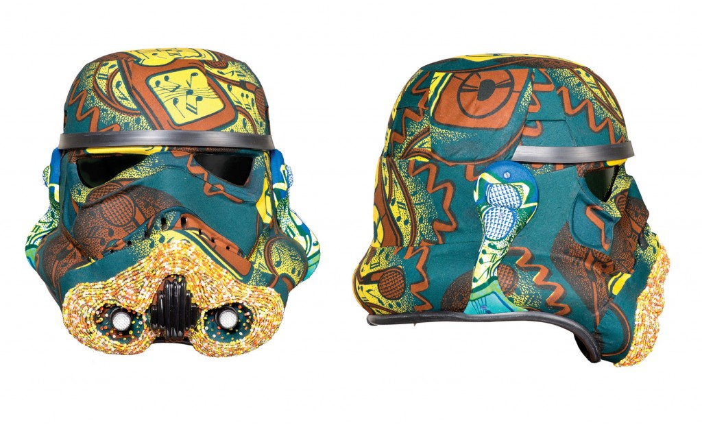 YINKA SHONIBARE MBE  'IPod Invader', 2013 Acrylic Capped ABS Storm Trooper helmet 310 x 310 x 325 mm Glass beads, Dutch wax African cotton textile Signed by Yinka Shonibare MBE Asking price: £8,000