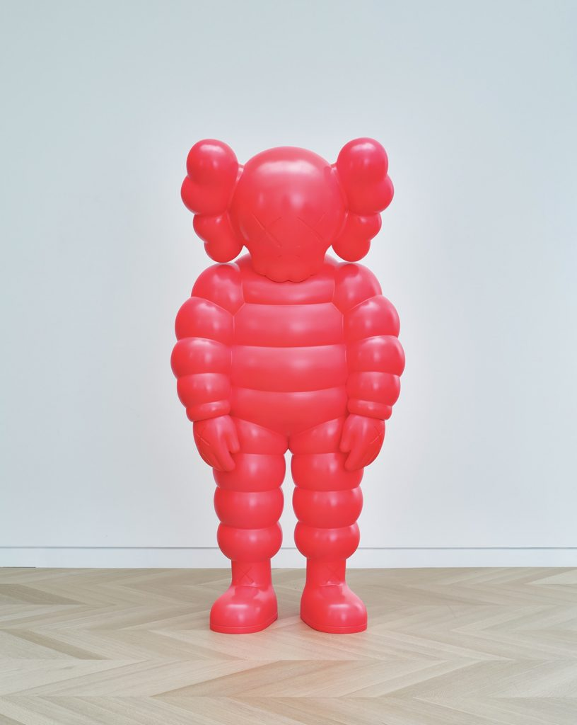 KAWS, WHAT PARTY, 2020. Bronze, paint, 90 × 43 5/16 × 35 3/8 in. (228.6 × 110 × 89.9 cm). © KAWS. (Photo: Michael Biondo)