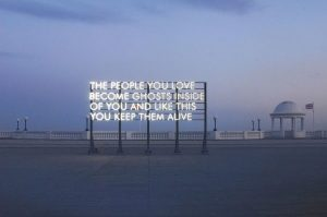 Robert Montgomery, THE PEOPLE YOU LOVE. Light work. De La Warr Pavillion, England. 2010