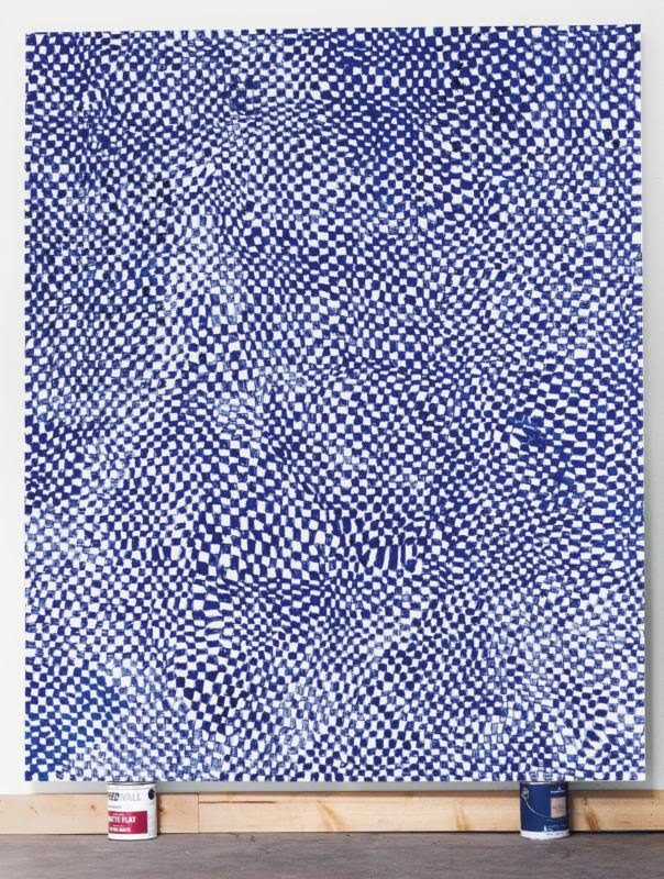Blue Checker, 2014, Oil on canvas, 102 x 84 inches (259.1 x 213.4 cm)