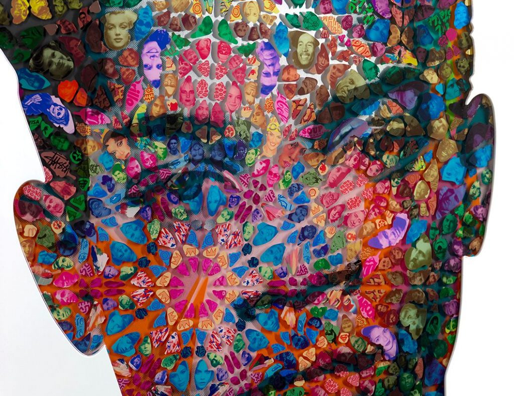 Miss Bugs Detail Radiant Child Printed paper cuts and mirrored foil cast in resin on wood and aluminium