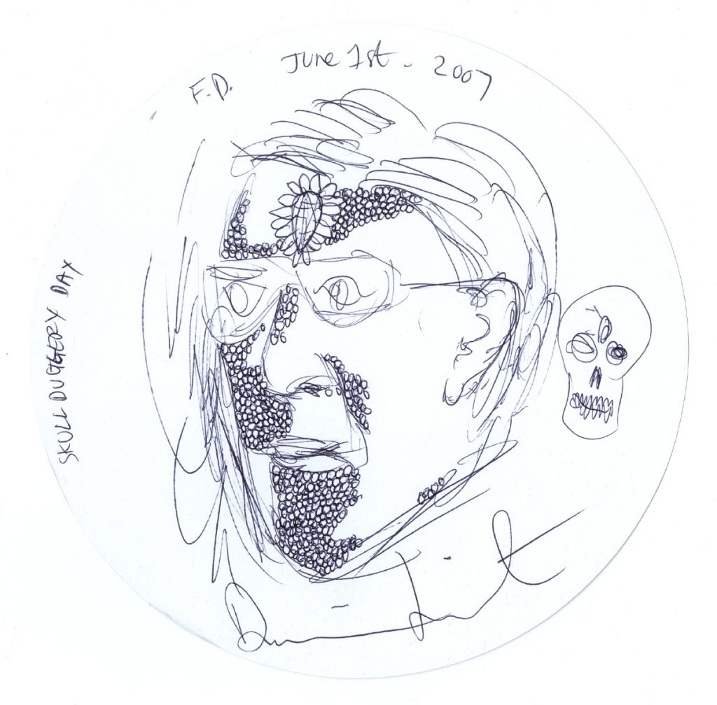Damien Hirst?untitled (portrait of frank)?signed and dated 29/06/04?pencil on placemat?diameter: 22cm.