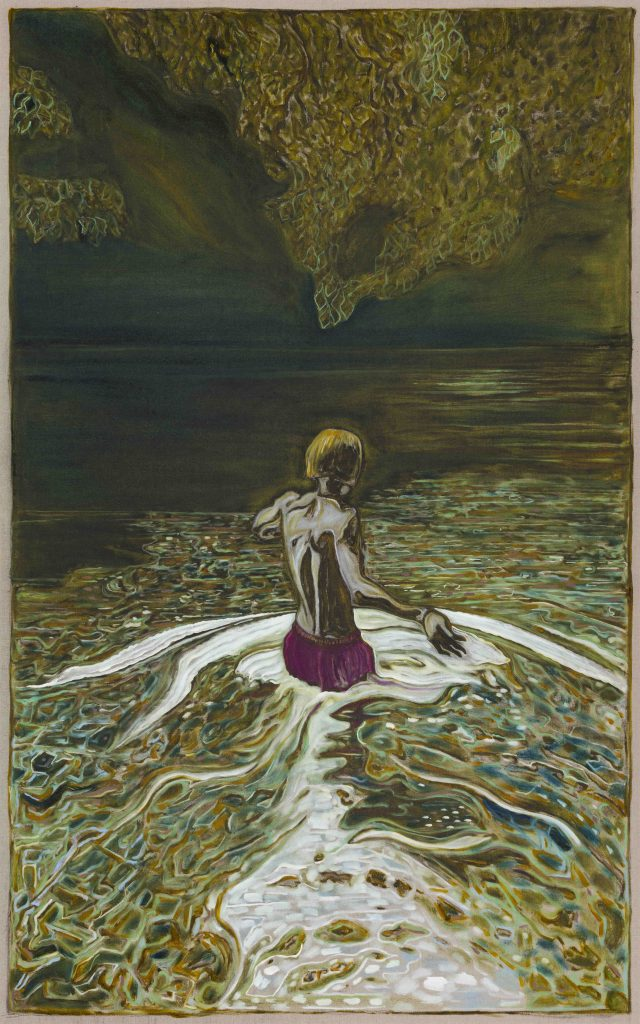 Billy Childish  wading out, 2017  Oil and charcoal on linen  244 x 152.5 cm