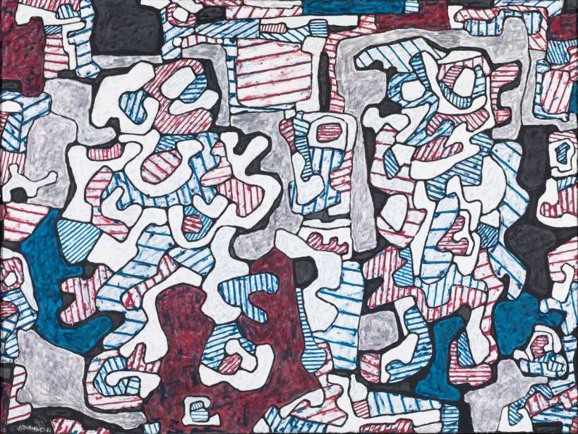 "Main leste et rescousse (Nimble Free Hand to the Rescue),"" December 6, 1964, Jean Dubuffet Vinyl paint on canvas 149.9 x 200.7 cm / 59 x 79 in (Tate: Presented by Galerie Beyeler, Basel, and Galerie Jeanne Bucher, Paris 1966 © ADAGP, Paris and DACS, London 2018)"