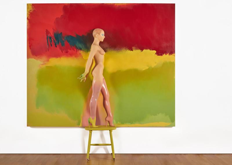 Allen Jones, Your Move, 2015-17, oil on canvas, oil enamel on composite figure and wooden base,